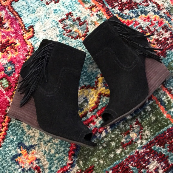 Abound Shoes - Suede ABOUND fringe wedge open toe bootie